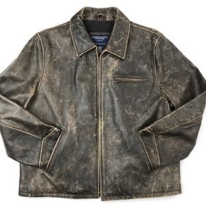 American Eagle Outfitters Leather Bomber Jacket